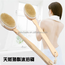 Natural Boar Bristle Wooden Bath Body Back Brush/Removable Wooden Long Handle and Detachable Head Natural Spa Bath Brush