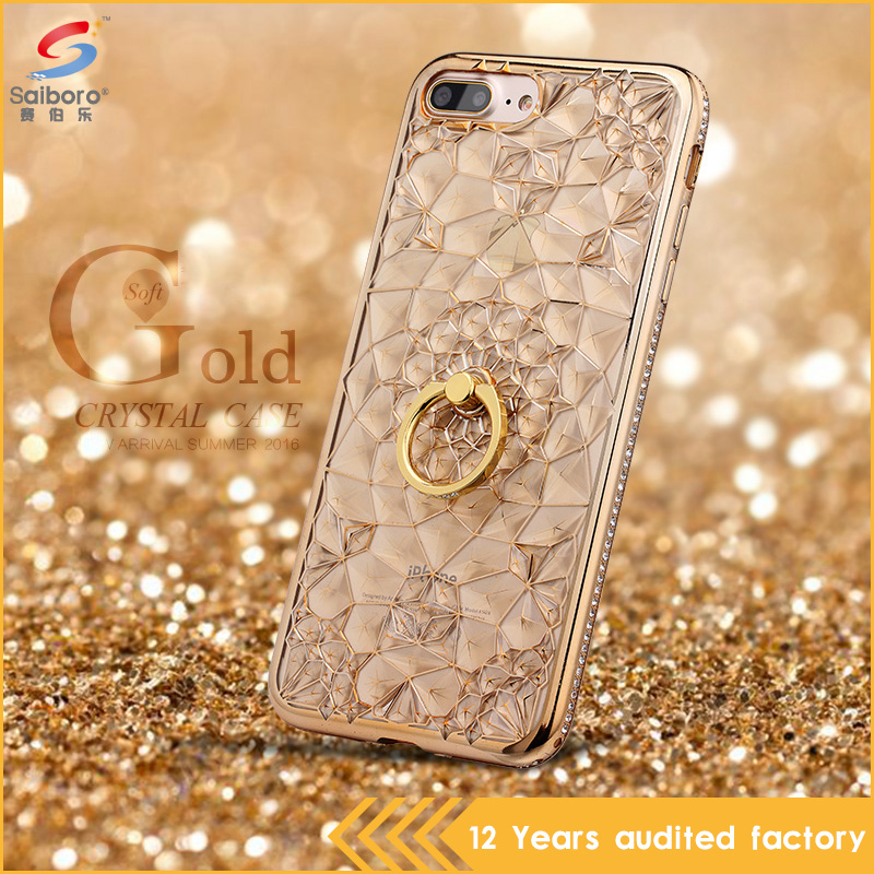 Women accessories hard crystal tpu case for <strong>iphone</strong> 7 with ring holder