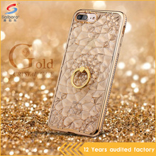 Women accessories hard crystal tpu case for iphone 7 with ring holder