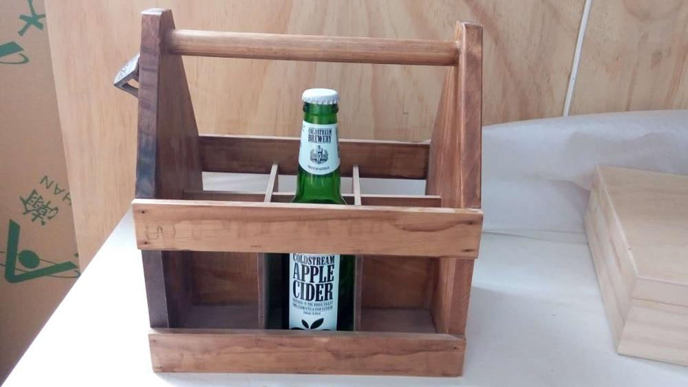 FSC pine wood handmade rustic stained wooden six pack beer carrier