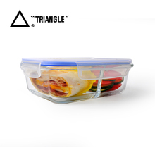 Lunch Box food storage glass container with divider