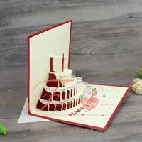 Standard Size Greeting Cards Handmade Red 3d Birthday Invitation Cards