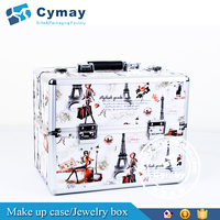 aluminum makeup case with lighted mirror makeup box with leather cover