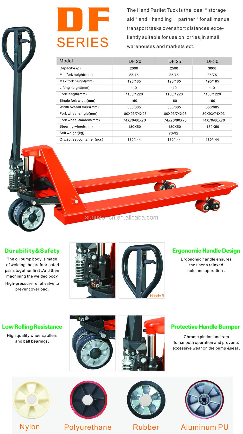 hand manual pallet truck AC 2500 3000kgs with CE GS
