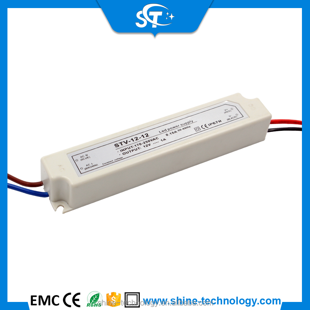 Led transformer 12V 12W plastic housing constant Voltage DC LED Driver conform to ce&rohs led power supply