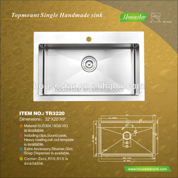 CUPC Certificate American Standard Stainless Steel Laundry Sink Cabinet Used For Commercial TR3220