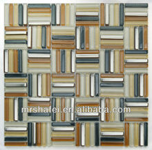 decorative metallic mix crystal glass strip mosaic tile