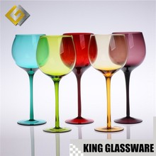 Wholesale red purple solid colored glass wine goblets
