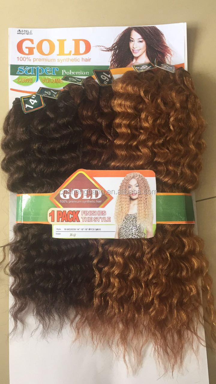 "noble gold synthetic weave original brand Super bohemian 18"" 20"" 22"" 200gr 6 in ONE bohemian hair weave"