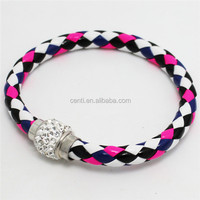 Woven Leather Wristband Rhinestone Magnetic Buckle