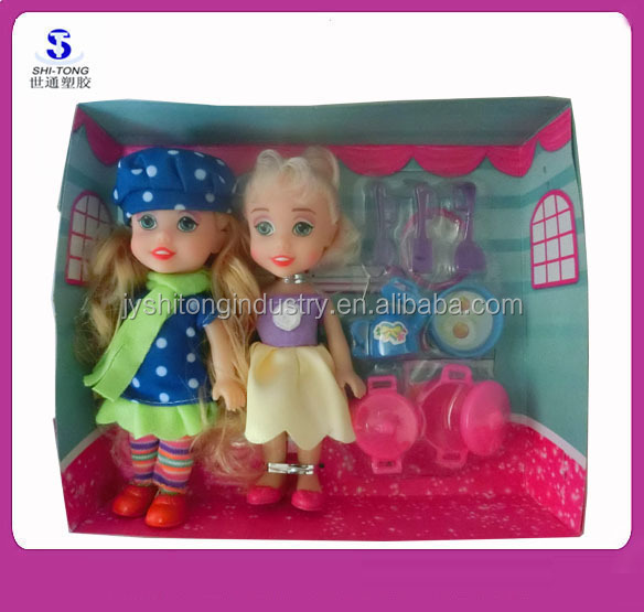 Plastic Small Toy Dolls Christmas Fashion Doll Set Cute Twin Sister Girl Doll