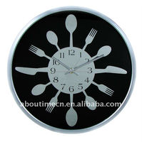 Fork & knife & spoon plastic decorative wall clock/24 hour analog clock