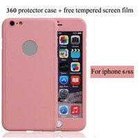 New arrival hot selling 360 All round protective case for iphone 6 4.7 inch with tempered glass protector