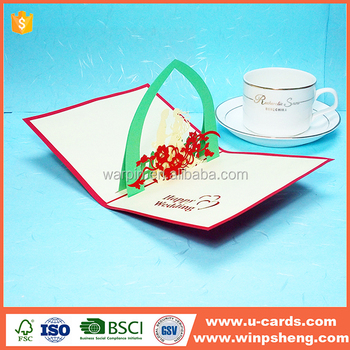 Luxury colorful laser cut paper wedding greeting card
