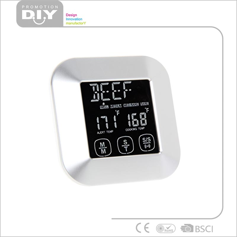 Popular Digital Meat Cooking Food Thermometer with Probe Timer Aluminum Surface