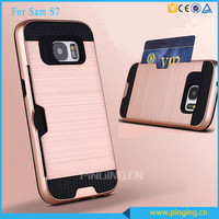 Hot Selling TPU Back Hard Hair Line PC Phone Cover Case Card Holder Case For Samsung Galaxy S7 G9300