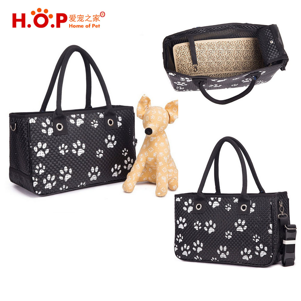 Fashion Black Plastic Pet Carrier Washable Pet Tote Carrier With Puppy Footprints Print