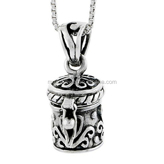 Floral Design 925 Sterling Silver Prayer Box Charm Necklace