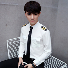 Man air line Pilot Uniform Shirt White and black Pilot Shirt long Sleeve Pilot Shirts