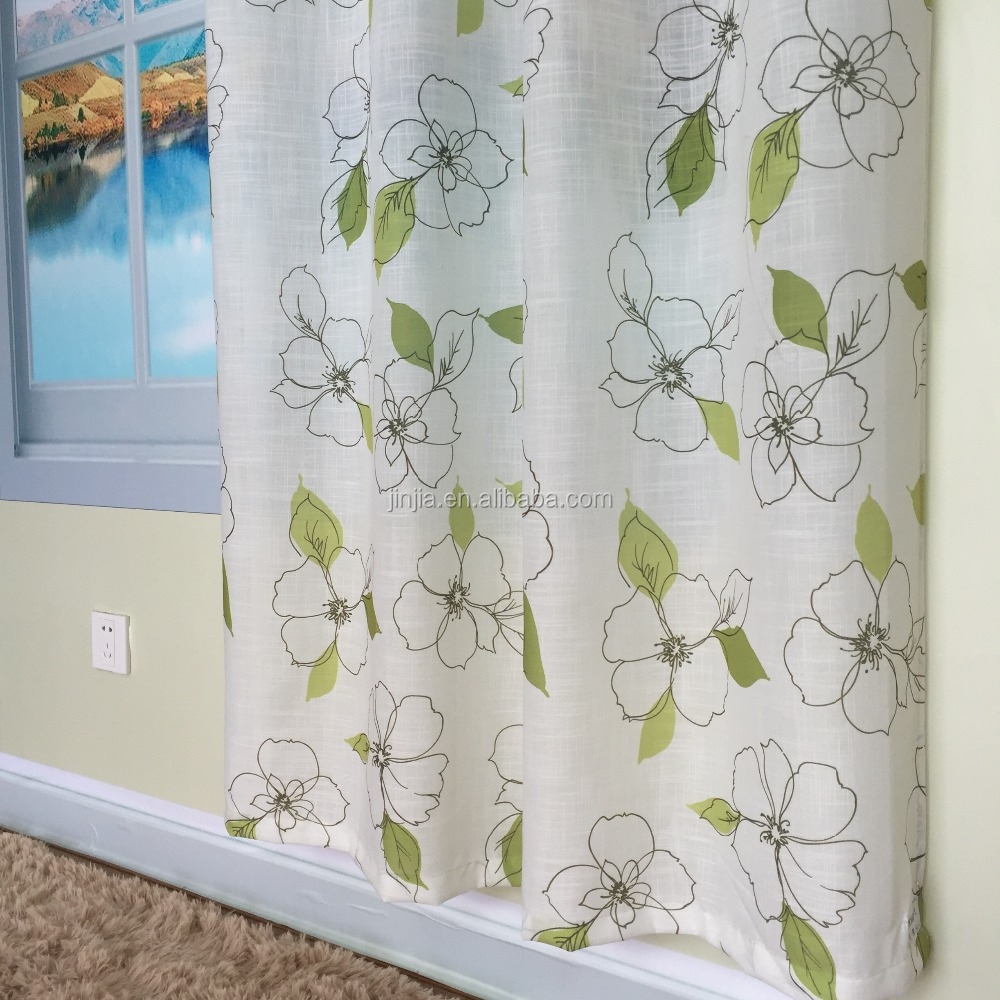 Leaves Design Printed Sheer Curtain Fabric