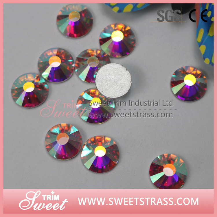 Silver-plated flatback rhinestones for nail art ,foil back crystal on nail