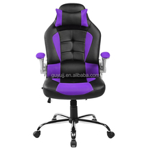 High Back Black & Pink Bonded Racing Office Chair/Managerial Ergonomic Gaming Chair With Flip-up ArmRest