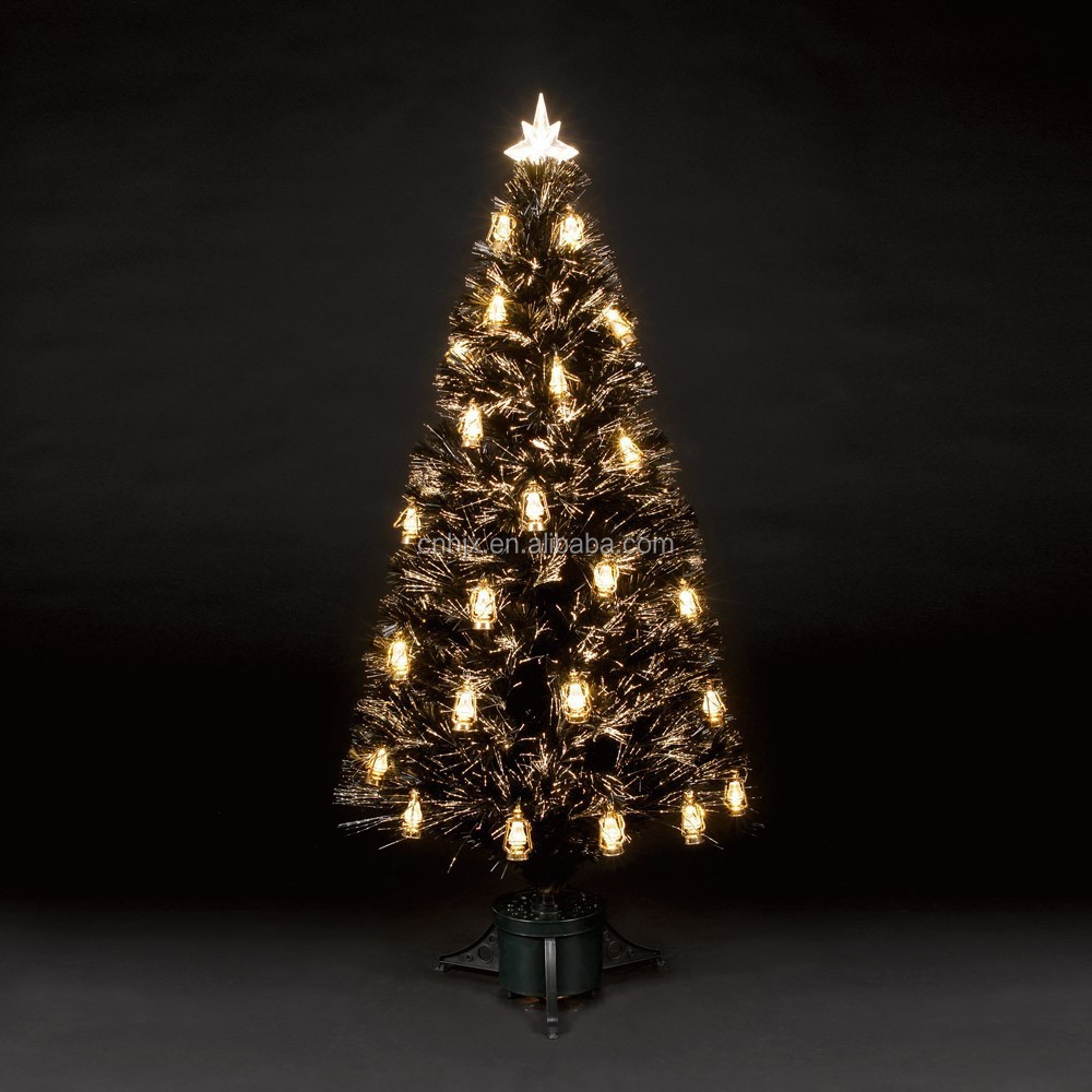 150cm Wrapped Fibre Optic LED Christmas Tree, Green Ornament Christmas Tree, Oil Lamp Tree