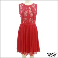 Customized Design Special Lace Back U Neck Red Dress