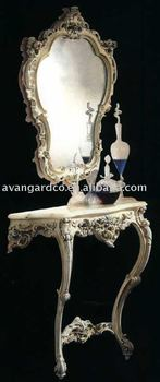 French console table set,with marble top and mirror,luxury gold plated furniture