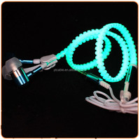 Novelty led night glowing lighting up earphone with standard 3.5mm jack and MIC