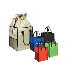 Custom cheap recyclable shopping grocery non woven drawstring bag