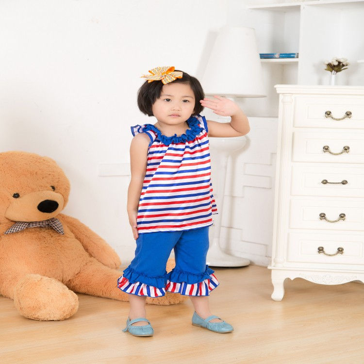 2015 good material reasonable price made in china baby outfits kids clothes set july 4th patriotic design