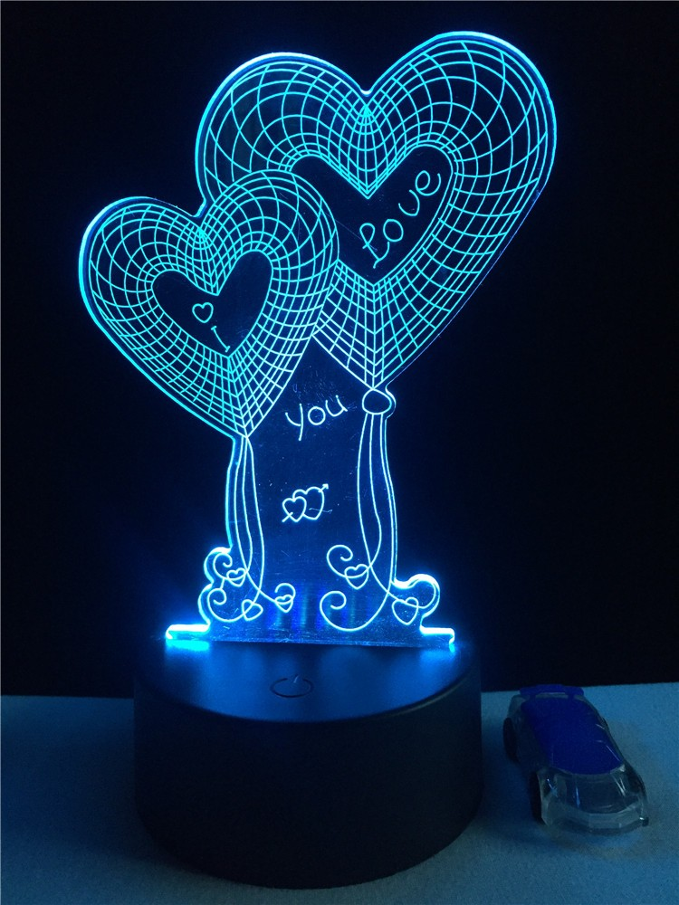 heart shaped propose romantic 3d nightlight led acrylic light