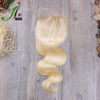 Swiss Transparent Lace Closure Brazilian Remy Hair Weaving Free Parting Body Wave Lace Closure Blonde With Baby Hair