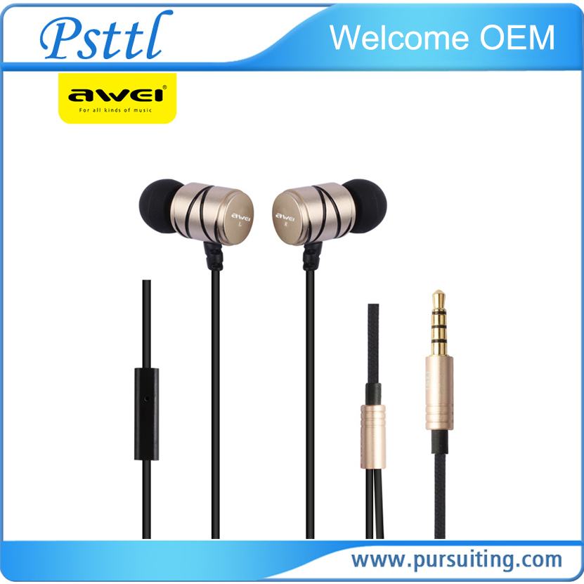 Awei Q5i Built-in Mic 3.5mm line type plug Metal in-ear Earphones For All Mobile Phone mp3