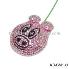 crystal beaded pig shaped computer mouse for christmas gifts
