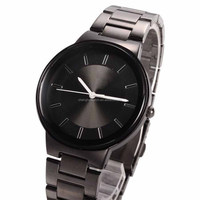 disc steel band cheap fashion stainless steel black cool watch