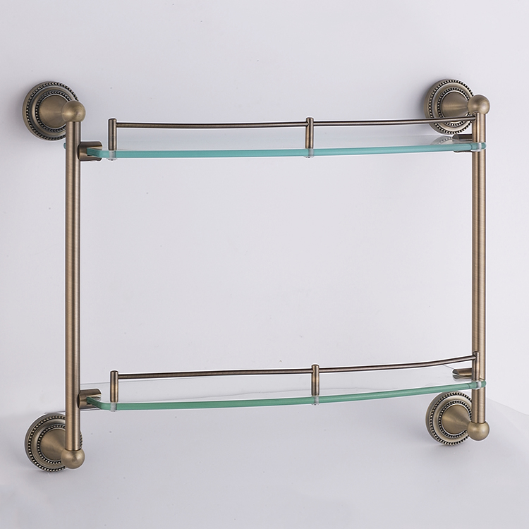 Factory supply bathroom double glass shelves, glass rack wall mount bathroom storage rack