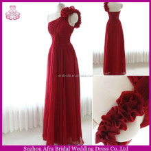 SW245 one shoulder flower strap long chiffon red bridesmaid dresses cheap