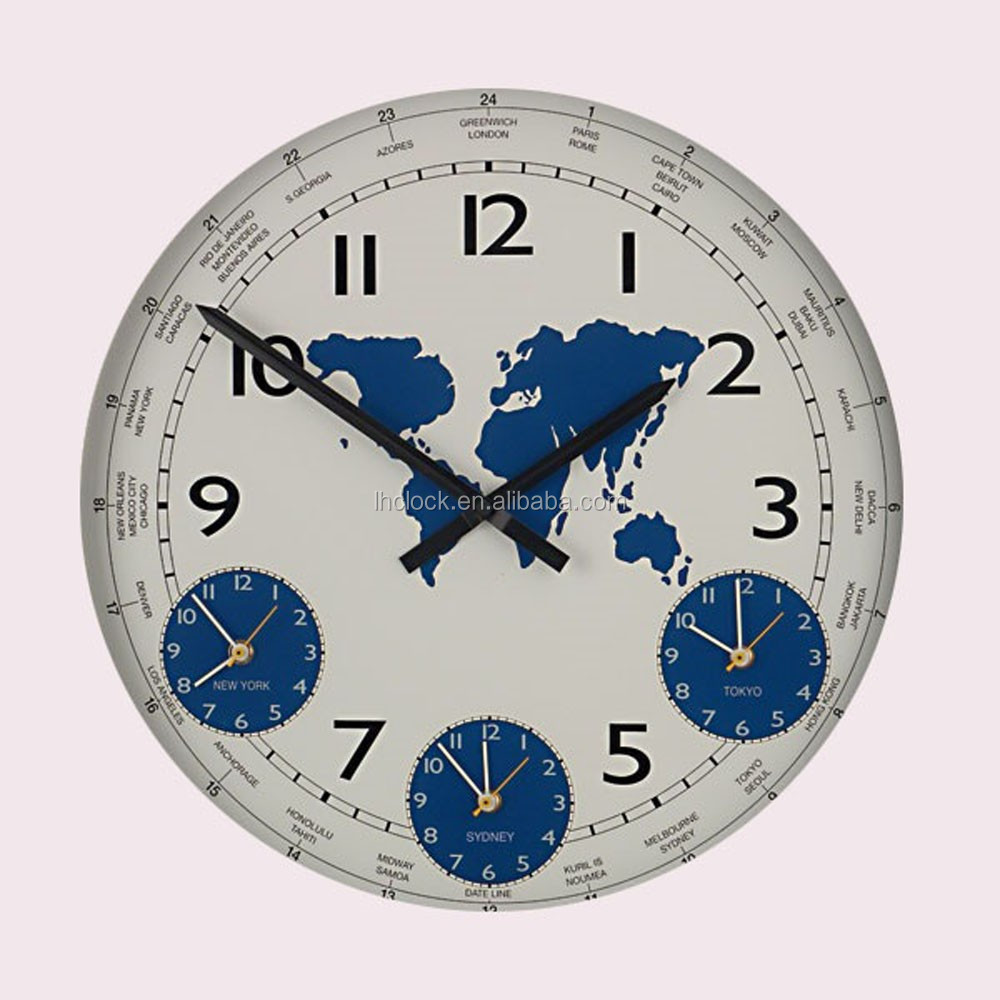 world wall clock three time zone wall clock