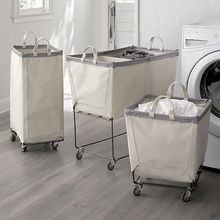 100% cotton canvas laundry hamper cart basket with wheels