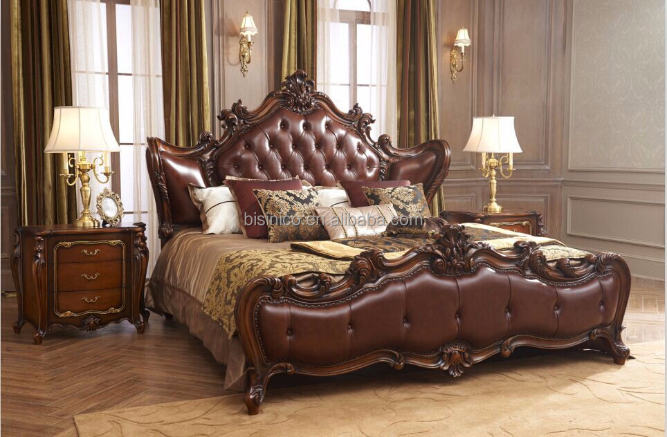 Solid Mahogany Wood Hand Carved Royal Bedroom Furniture/Antique Genuine Leather King Size Bedroom Furniture/