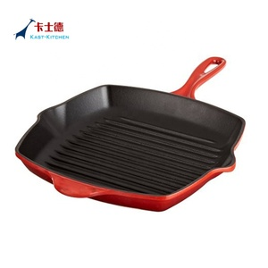Red Enameled Cast Iron Square Griddle Pan Skillet Panini Grill Pan BBQ