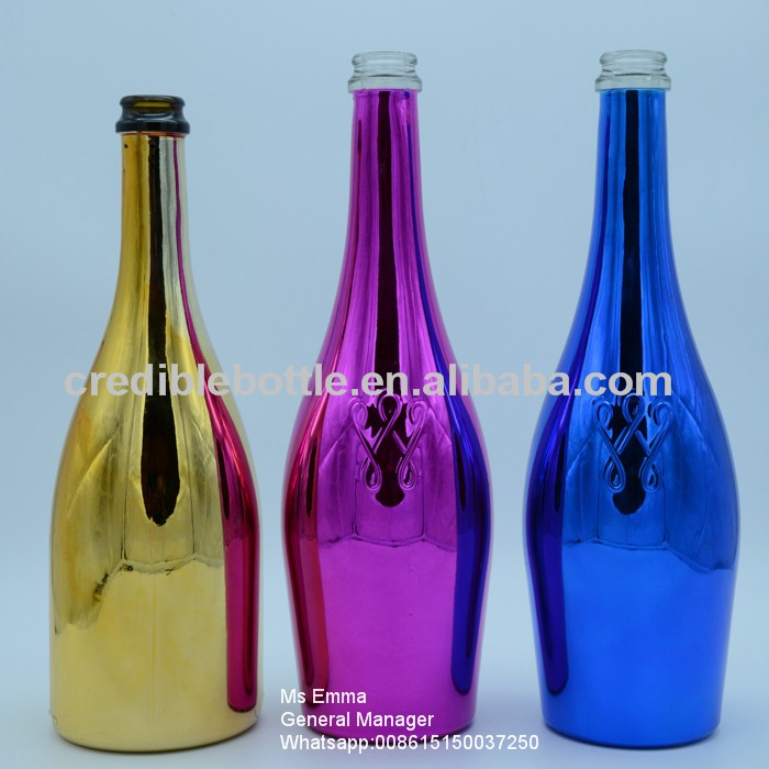 Silver gold colored 750ml electroplated wine glass bottle for Where to buy colored wine bottles