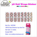 Pretty Girl Nail Art Beauty Products 16pcs 3D Nail Wraps Stickers with 1pc Nail File in PET box