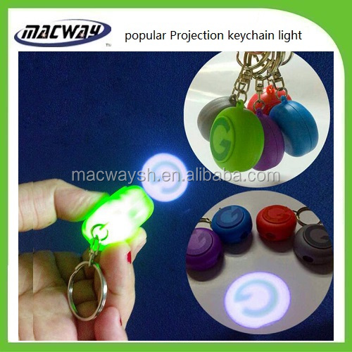 Custom logo projector torch mini led flashlight keychain