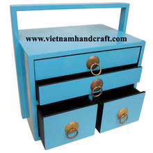 Quality eco-friendly traditionally hand finished vietnamese turquoise lacquer bamboo bathroom furniture with handle
