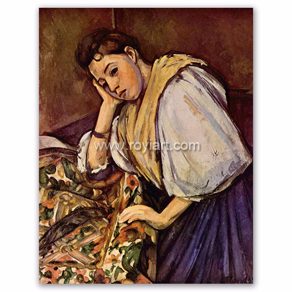 young italian girl resting on her elbow reproduction oil painting by Paul Cezanne