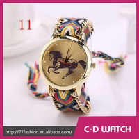 New Casual Brand Handmade Braided Watches Wristwatch Cartoon Watch Big Dial Relojes Mujer Relogios Men Watch XR896