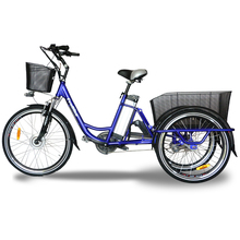"3 wheel Adult 26"" electric tricycle 36v 10ah lithium battery 250w electric bicycle car three wheel china cargo tricycle"